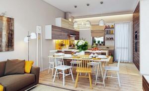 小户型北欧风格时尚创意开放式厨房餐厅装修效果图