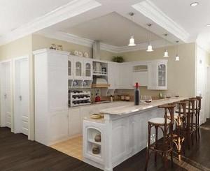 90平米大户型欧式厨房吊顶设计装修效果图欣赏