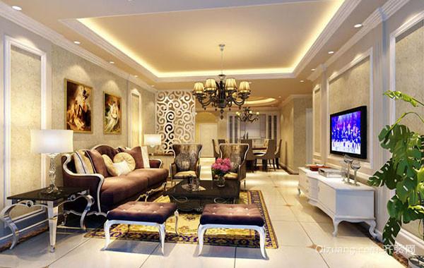 欧式风格精致室内客厅电视背景墙装修效果图