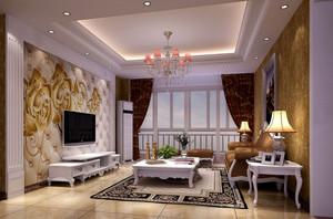 90平米欧式风格精致典雅时尚客厅吊顶装修效果图