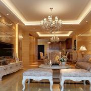 别墅型古典欧式风格客厅电视背景墙装修效果图