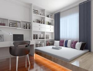 两室两厅现代简约风格书房榻榻米装修效果图赏析