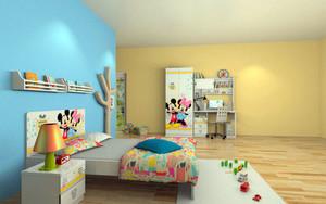 三居室现代简约风格时尚儿童房装修实景图