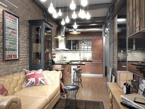 50平米灰色空间简约时尚单身公寓装修效果图赏析