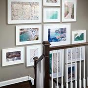 复式楼简约风格时尚创意楼梯间照片墙装修效果图