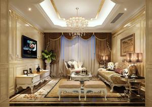 别墅型经典欧式风格精致高贵典雅客厅装修实景图