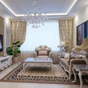 80平米简欧风格时尚创意客厅电视背景墙装修效果图