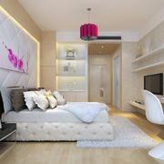 简欧风格三居室精致典雅卧室墙纸装修效果图