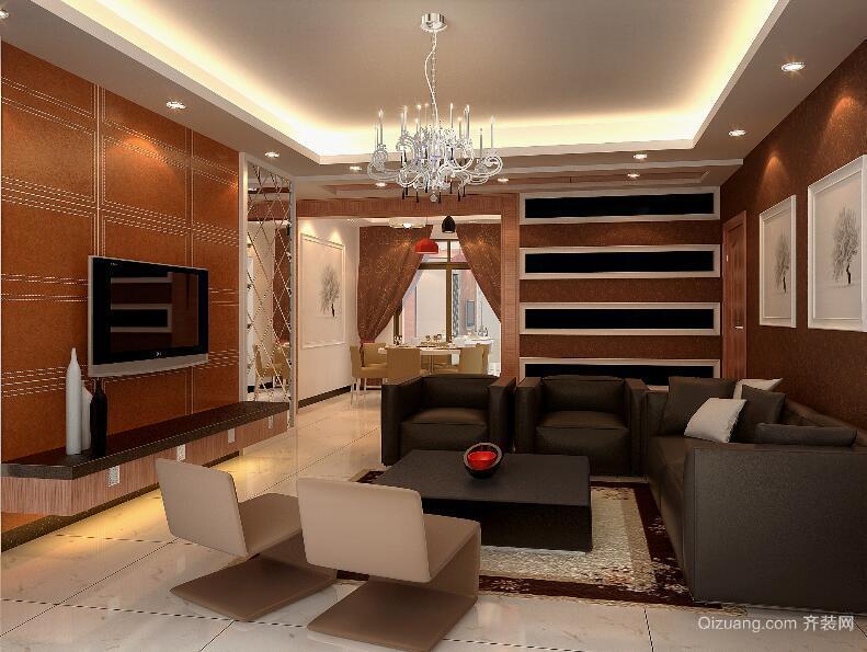 欧式风格大户型客厅背景墙装修效果图实例