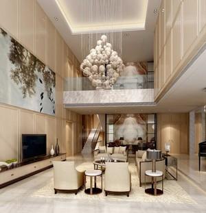 别墅型现代简约风格客厅吊顶装修效果图