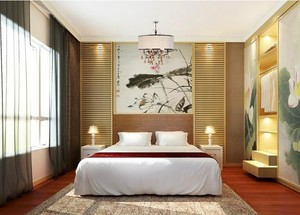 唯美的别墅型现代卧室背景墙装修效果图实例
