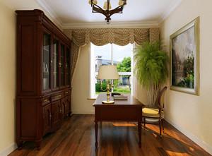 古典美式风格大户型精致书房装修效果图