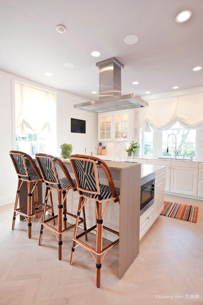 现代田园风格别墅型室内厨房吧台装修效果图
