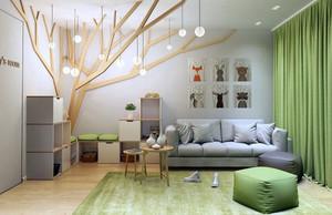 绿色森林主题简约创意儿童房装修效果图