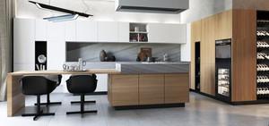 大户型现代简约风格室内厨房酒柜设计效果图