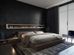 黑色空间典雅简约单身公寓卧室装修效果图