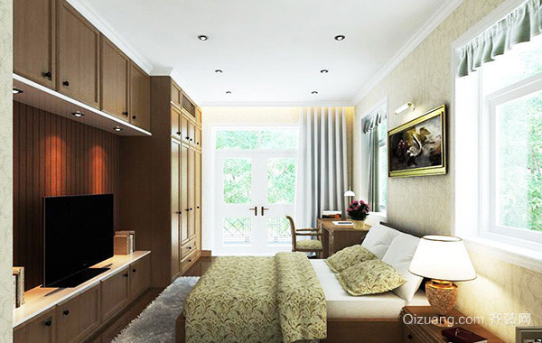 110平米简约风格卧室电视背景墙装修效果图赏析