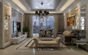 欧式风格别墅型精致典雅客厅电视背景墙装修效果图