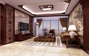 120平米中式风格精致典雅是室内客厅吊顶装修效果图