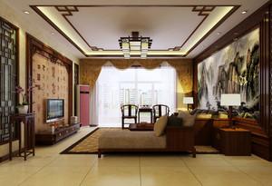 大户型新中式风格精致典雅客厅电视背景墙装修效果图