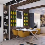 100平米后现代风格简约室内餐厅背景墙装修效果图