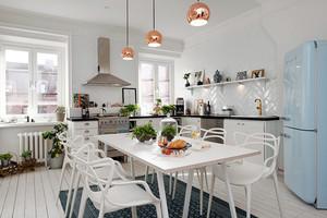 110平米北欧风格简约时尚开放式厨房餐厅装修效果图