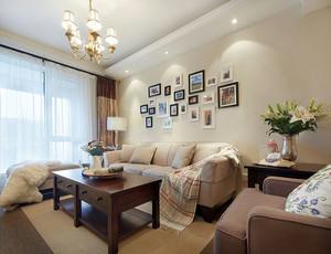 美式简约风格大户型室内客厅照片墙装修效果图