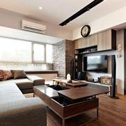 110平米现代简约风格时尚室内客厅电视背景墙装修效果图