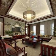 大户型中式风格室内客厅装修效果图