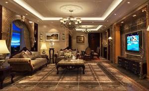 古典欧式风格复式楼客厅装修效果图