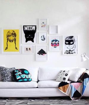 120平米现代简约风格创意客厅照片墙装修效果图