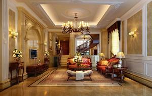 别墅型欧式风格精致典雅时尚客厅吊顶装修效果图
