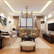欧田园风格大户型室内客厅电视背景墙装修效果图