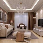大户型欧式风格精致典雅时尚客厅吊顶装修效果图