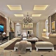 大户型简欧风格室内客厅吊顶装修效果图赏析
