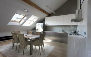 大户型时尚简约斜顶阁楼厨房装修设计效果图