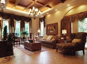 大户型古典欧式风格客厅窗帘装修效果图