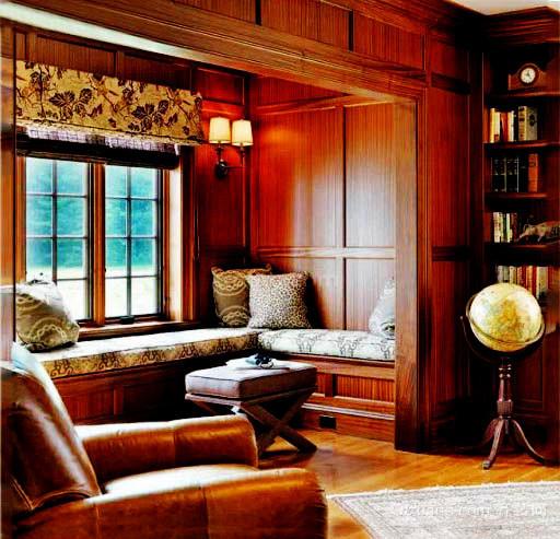 美式乡村风格精致客厅飘窗装修效果图