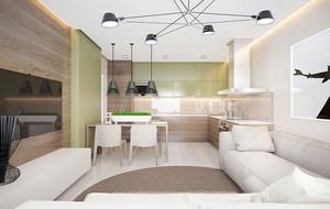 都市小清新风格温馨70平米小公寓装修效果图