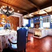 大户型地中海风格开放式厨房餐厅装修效果图