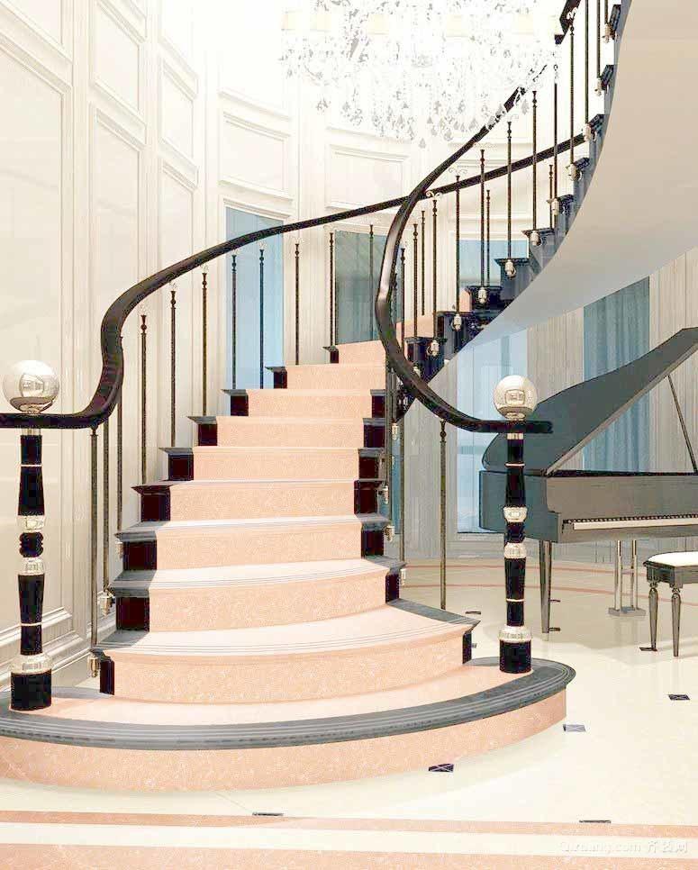别墅型简欧风格精致典雅楼梯设计效果图鉴赏