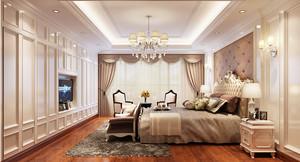 三居室欧式风格卧室窗帘装修效果图