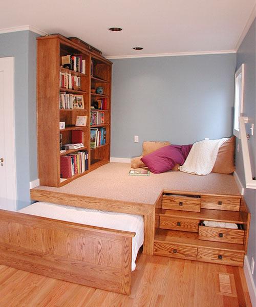 10平米现代自然风格书房榻榻米装修效果图