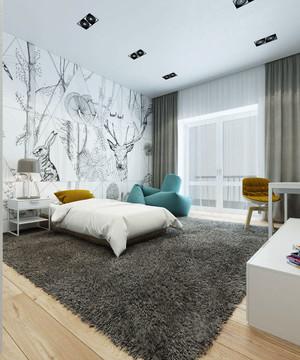 现代简约风格灰色主调三室一厅装修效果图赏析