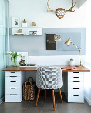 70平米北欧风格时尚创意小书房装修实景图