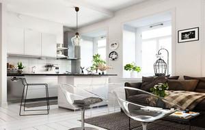 北欧简约风格60平米创意单身公寓装修效果图