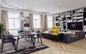 现代风格明亮黄色搭配客厅装修效果图赏析