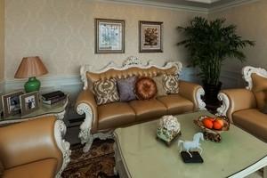 欧式田园风格三居室客厅装修实景图
