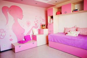 现代风格三居室粉色儿童房设计效果图