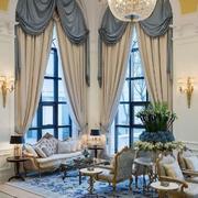 欧式别墅客厅窗帘设计效果图